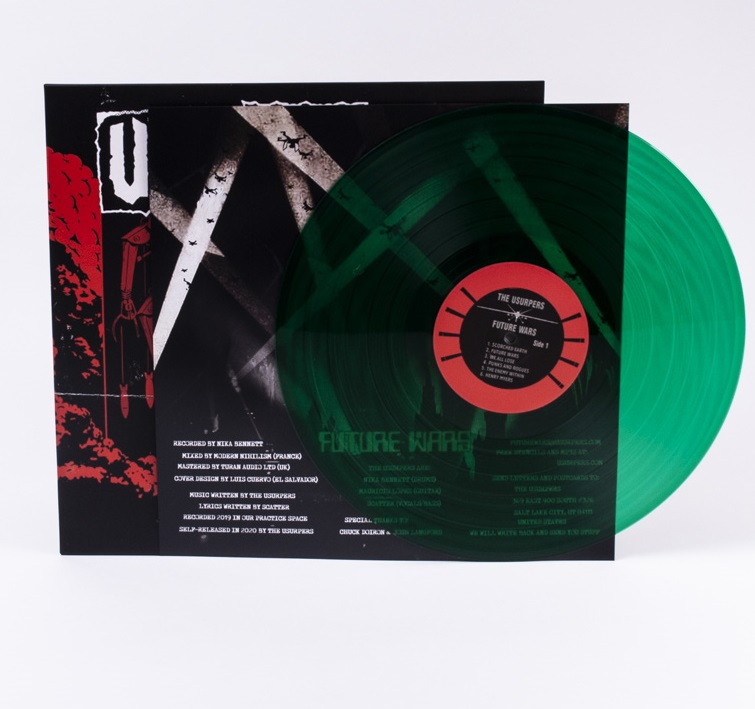 Green vinyl and insert from the Future Wars LP